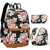 BLUBOON Canvas Bookbags School Backpack Laptop Schoolbag for Teens Girls High School