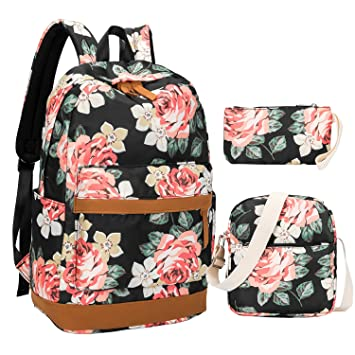 ac724c81a2ef Girl School Backpack Women Laptop Schoolbag Bookbags for Teens High School  Water-Resistant (Floral Black-3Pcs)
