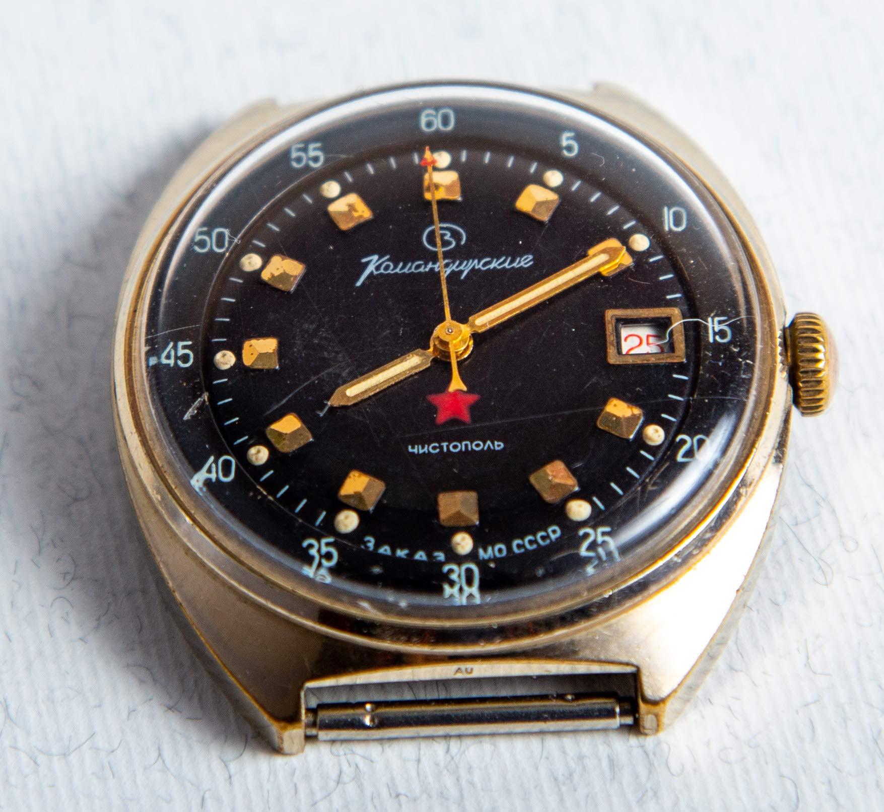 1970s Vintage USSR Watch vostok komandirskie Military Russian Commander Заказ МО Komandirskiye Golden Color Red Star by Wostok (Image #6)