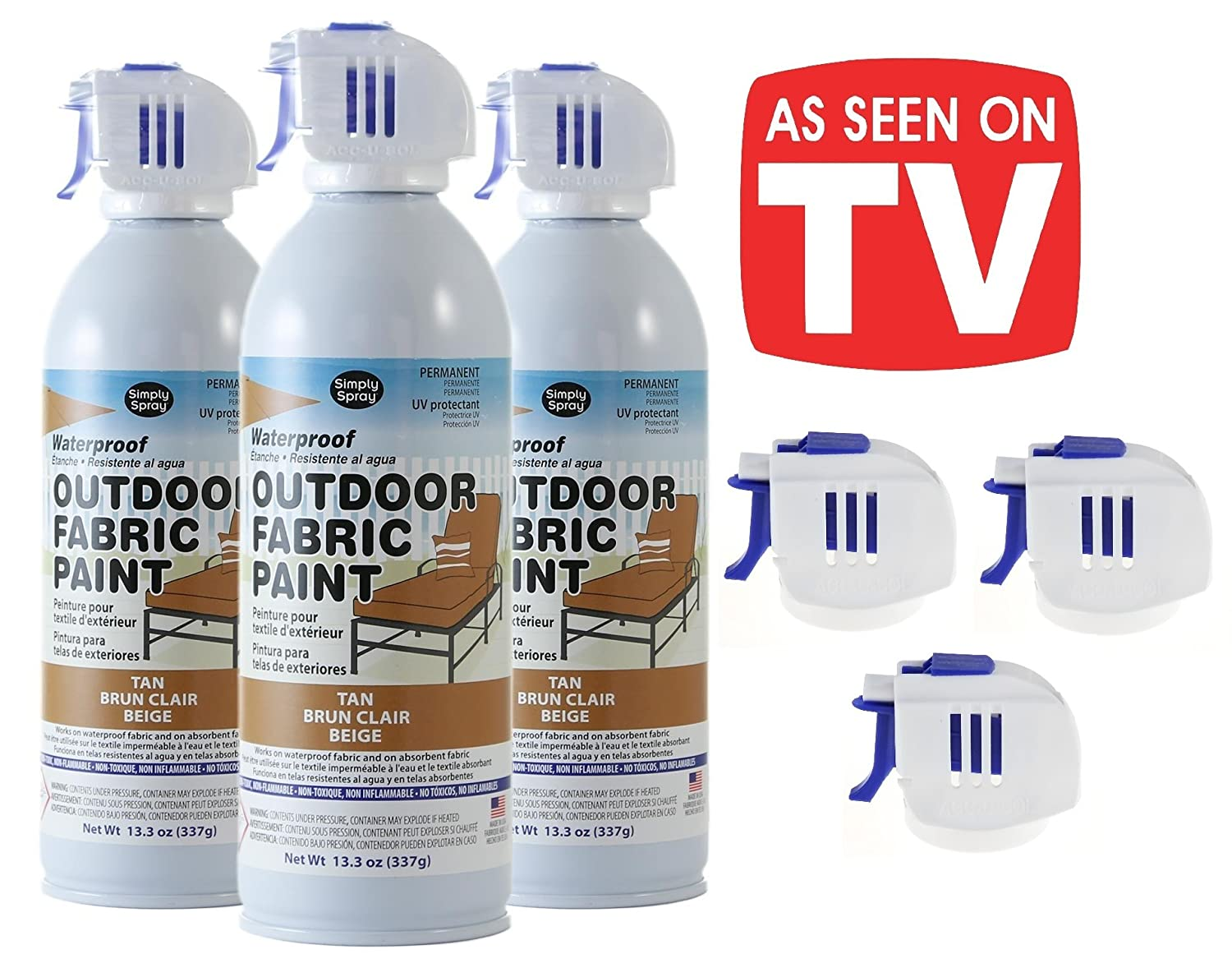 As Seen on TV Simply Spray - Outdoor Waterproof All Purpose Permanent Spray Paint with Extra Replacement Nozzle - 13.3 oz - New Improved Nozzle! (Tan, ...