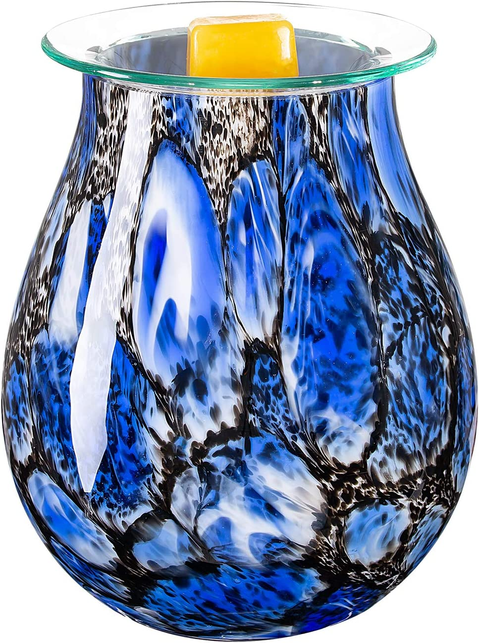 COOSA Art Glass Wax Melt Warmer-Electric Candle Warmer,Incense Wax Tart Burner Fragrance Night Light Aroma Decorative for Home Office (Blue)