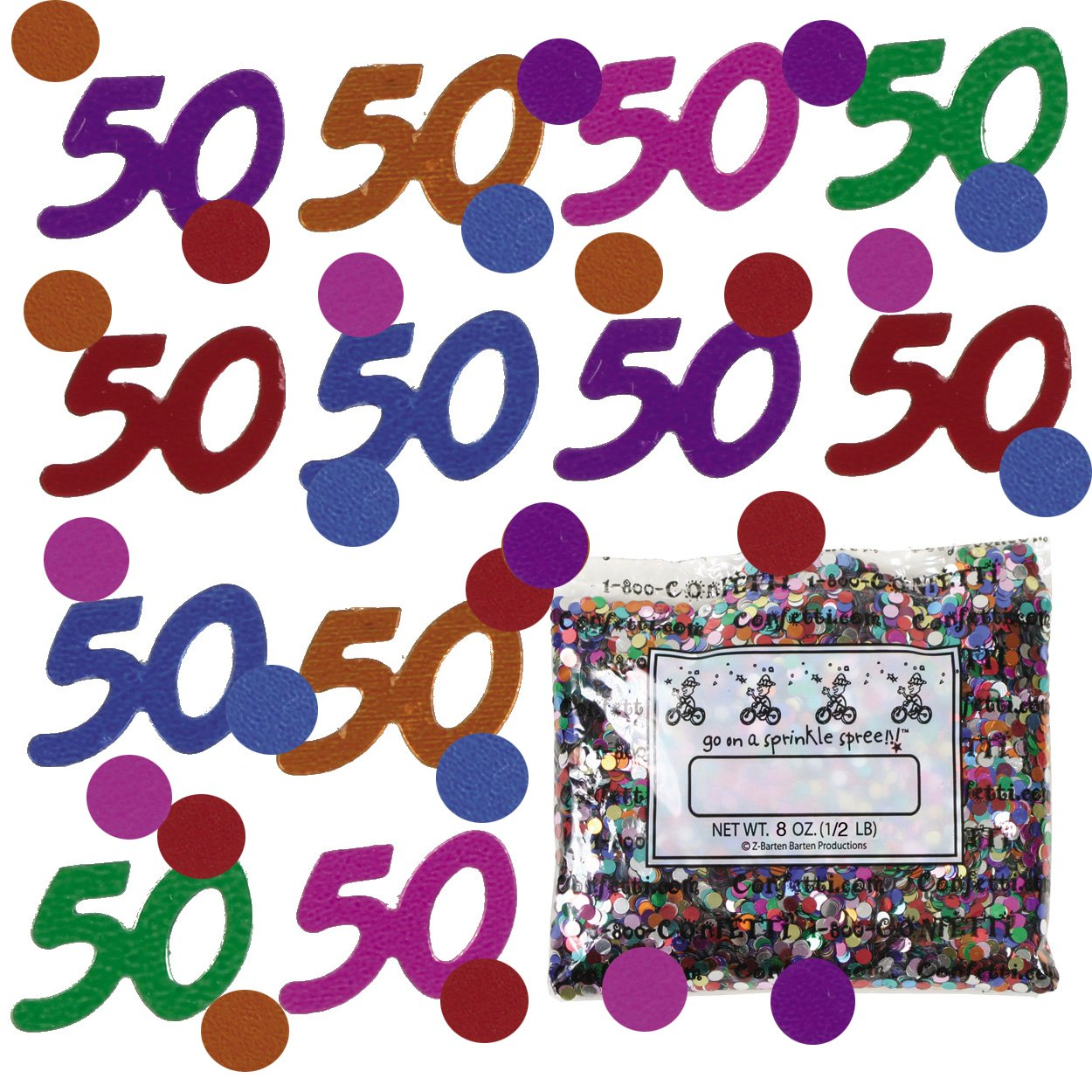 Confetti Mix - 50s & Circles Multicolors - One Pound - Free Priority Mail- (9004)