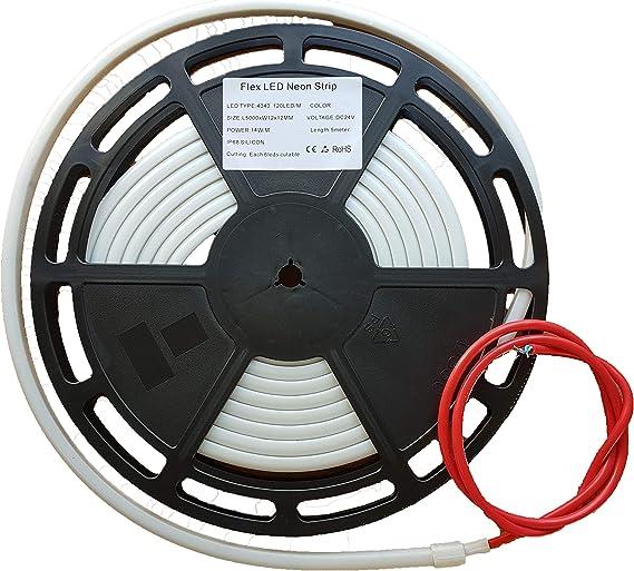 Tira LED RGB Flex Neon IP68 Sumergible de alta potencia 14W/M ideal para exterior, para iluminar su piscina, fuente, estanque o jardin: Amazon.es: Iluminación