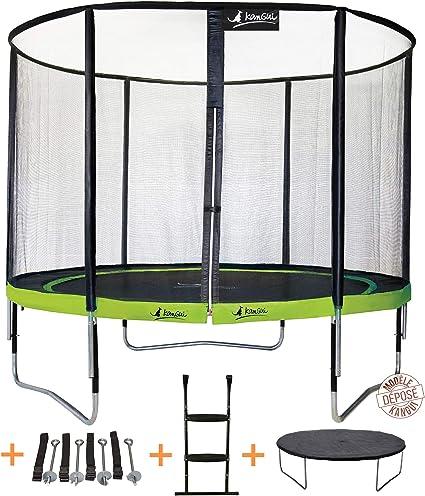 KANGUI - Cama elástica de jardín Redondo 305 cm + Red de Seguridad + Escalera + Funda de protección + Kit Anclaje | PUNCHI Aloe 300: Amazon.es: Deportes y aire libre