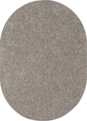 Bright House Solid Color Oval Shape Area Rugs Grey