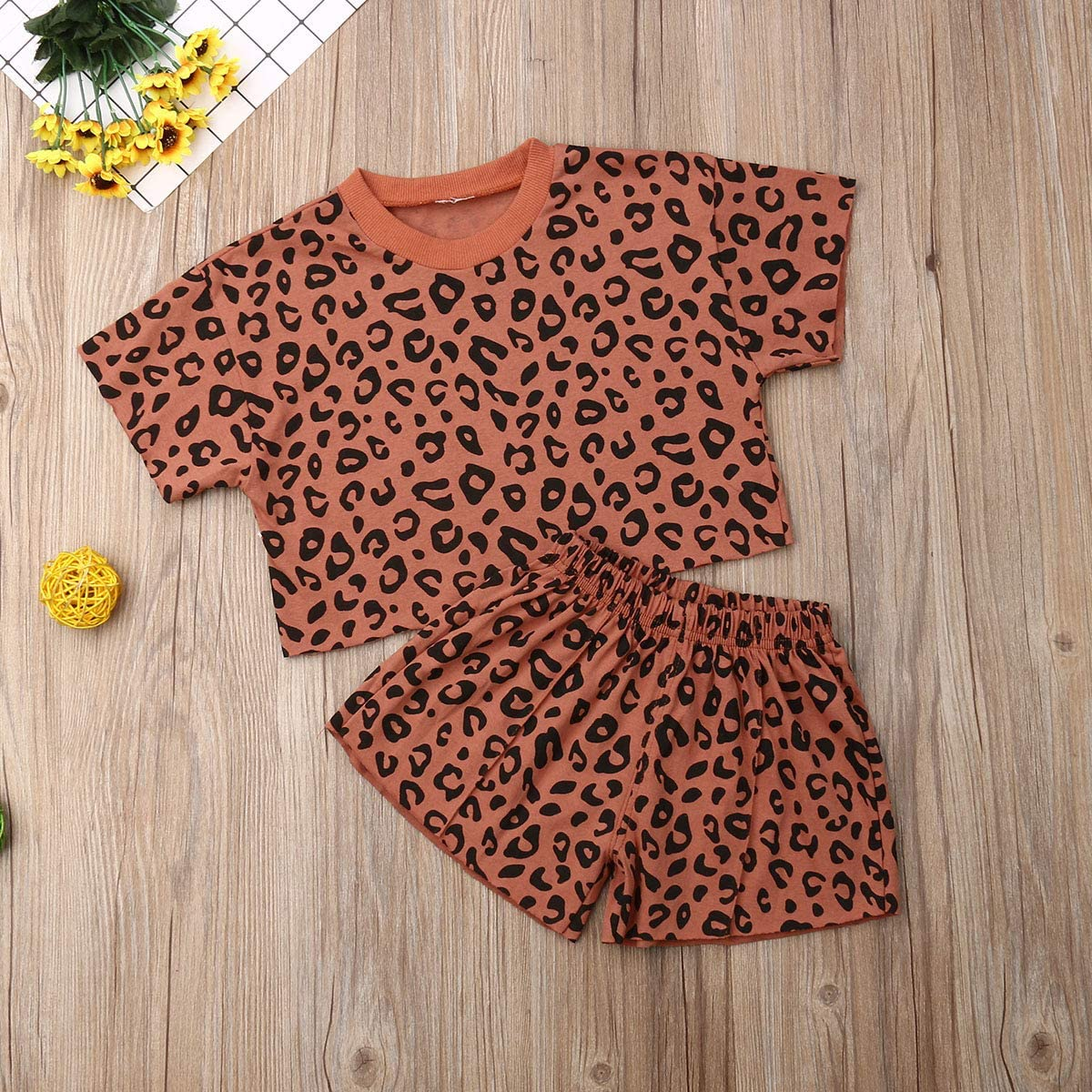 Ilyhaha Toddler Baby Girl Summer Outfits Leopard Print Short Sleeve Crop Top+Shorts Set 2Piece Kid Clothes Set