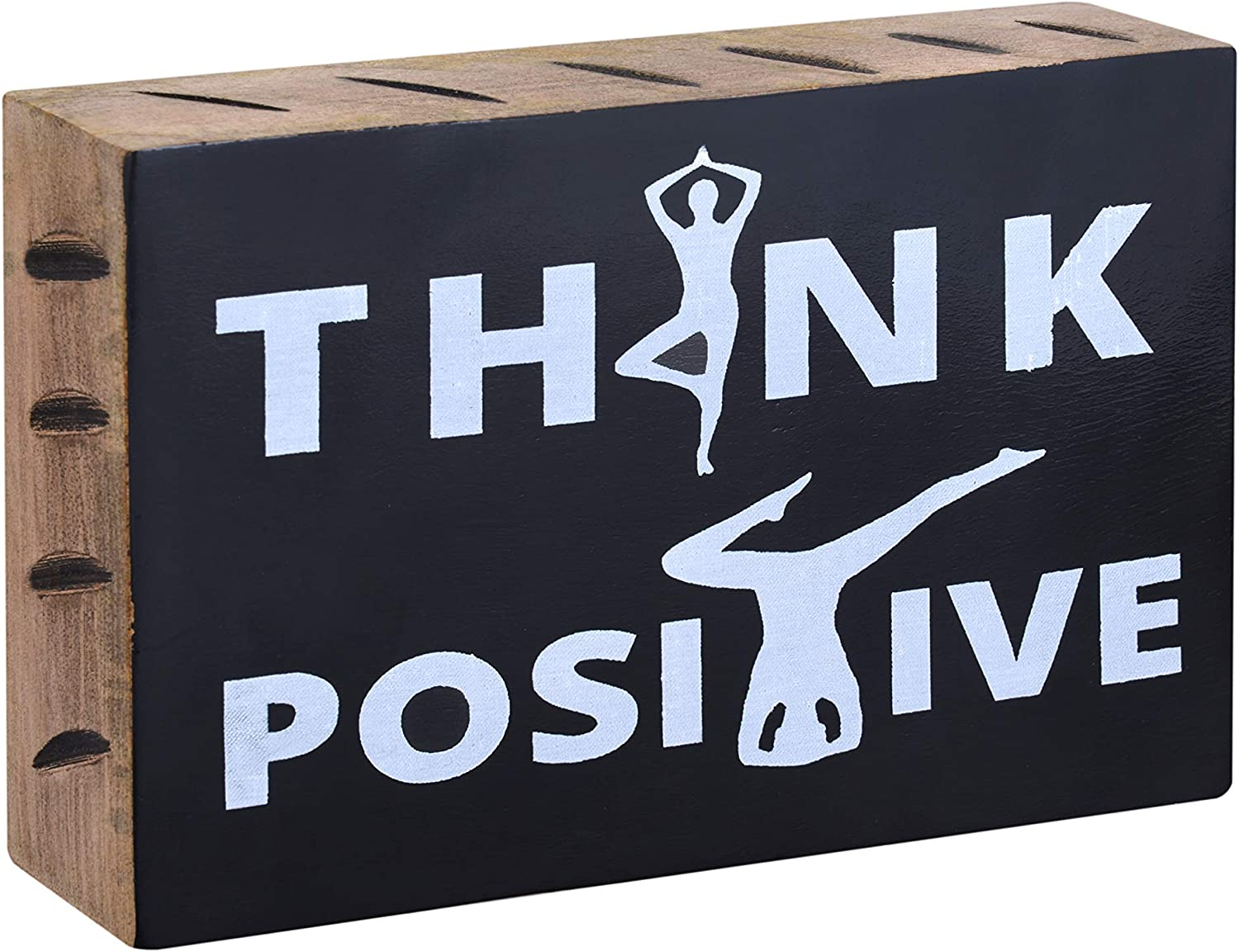 Wood Sign Decor - Think Positive Yoga Sign with Positive Thought Wood Sign - Yoga Room Decor, Meditation Room Decor - Wood Block Plaque Sign for Wall shelf Decor - Box Sign Decor for Home Office