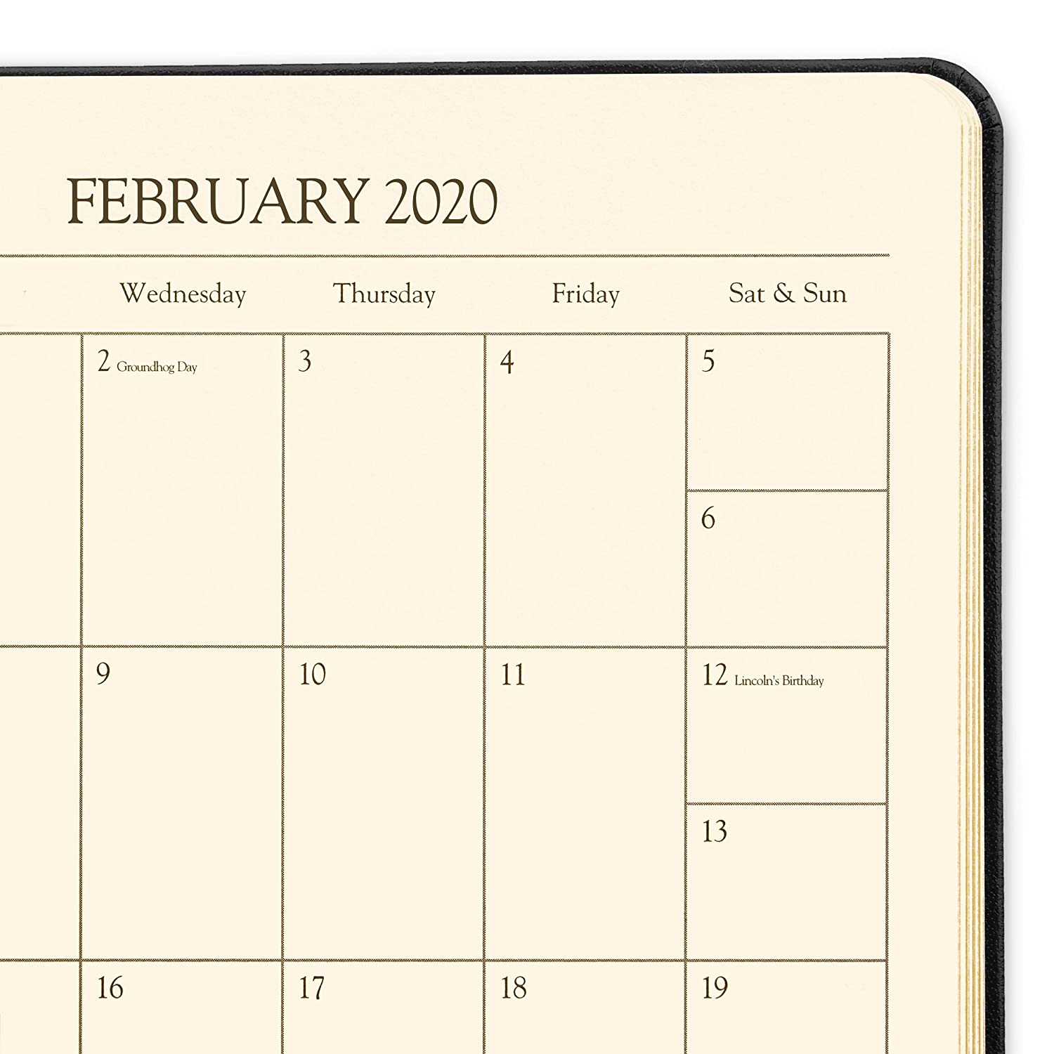 2020 Large Weekly Leather Planner by Gallery Leather - Acadia Navy (Blue) - Open Format 9.75
