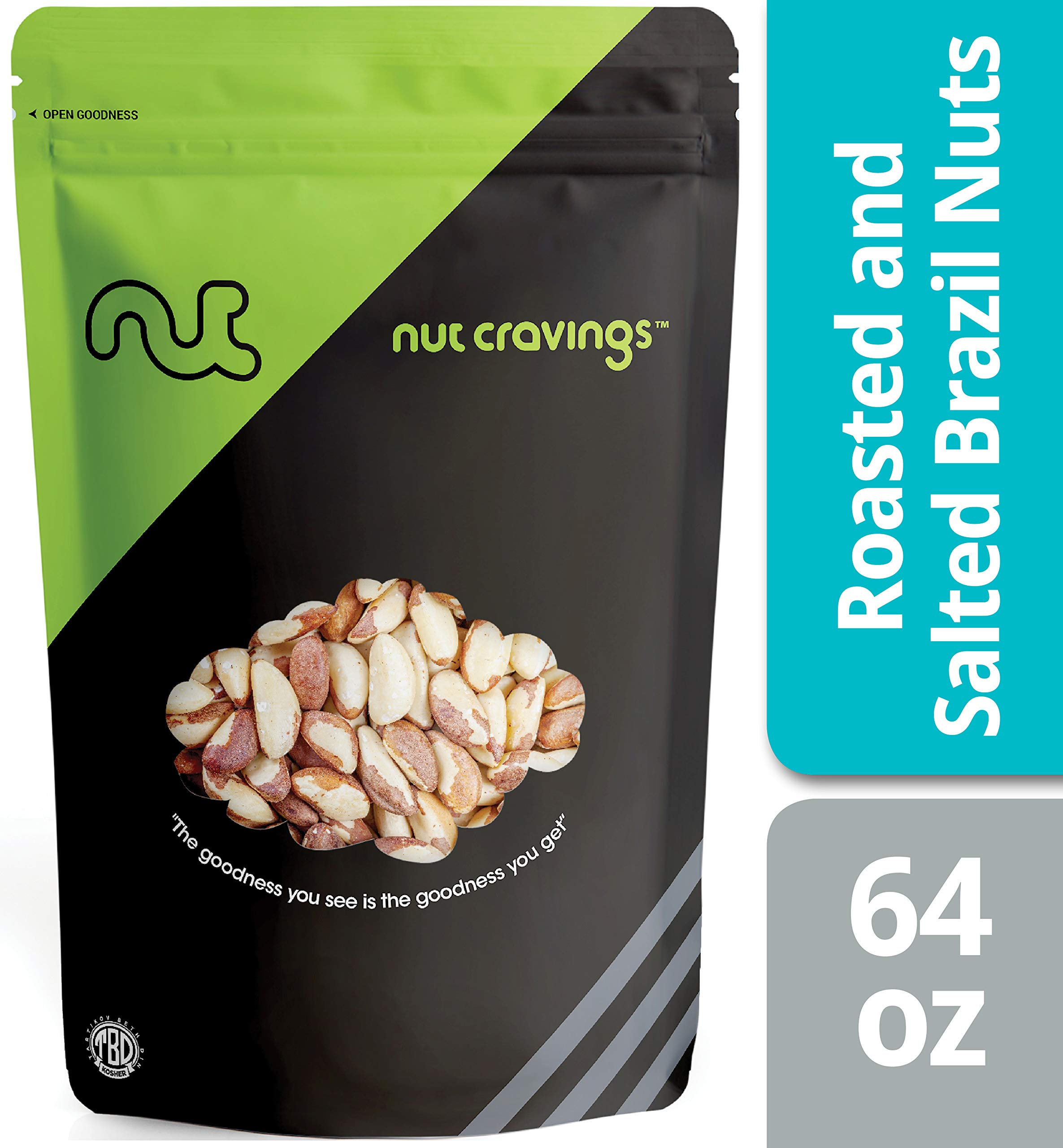 Nut Cravings - Brazil Nuts Roasted & Salted (4 Pounds) - Whole, Roasted, Salted, No Shell Brazilian Nuts - 64 Ounce by Nut Cravings
