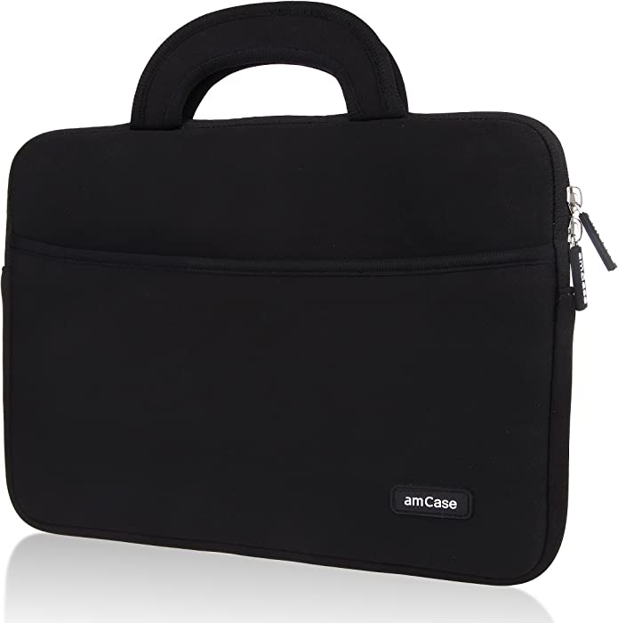 amCase Chromebook Case-11.6 to 12 inch Neoprene Travel Sleeve with Handle-Black