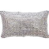 Kylie Minogue Square Diamond Cushion - Luxury Crystal Silver Grey Filled Cushion