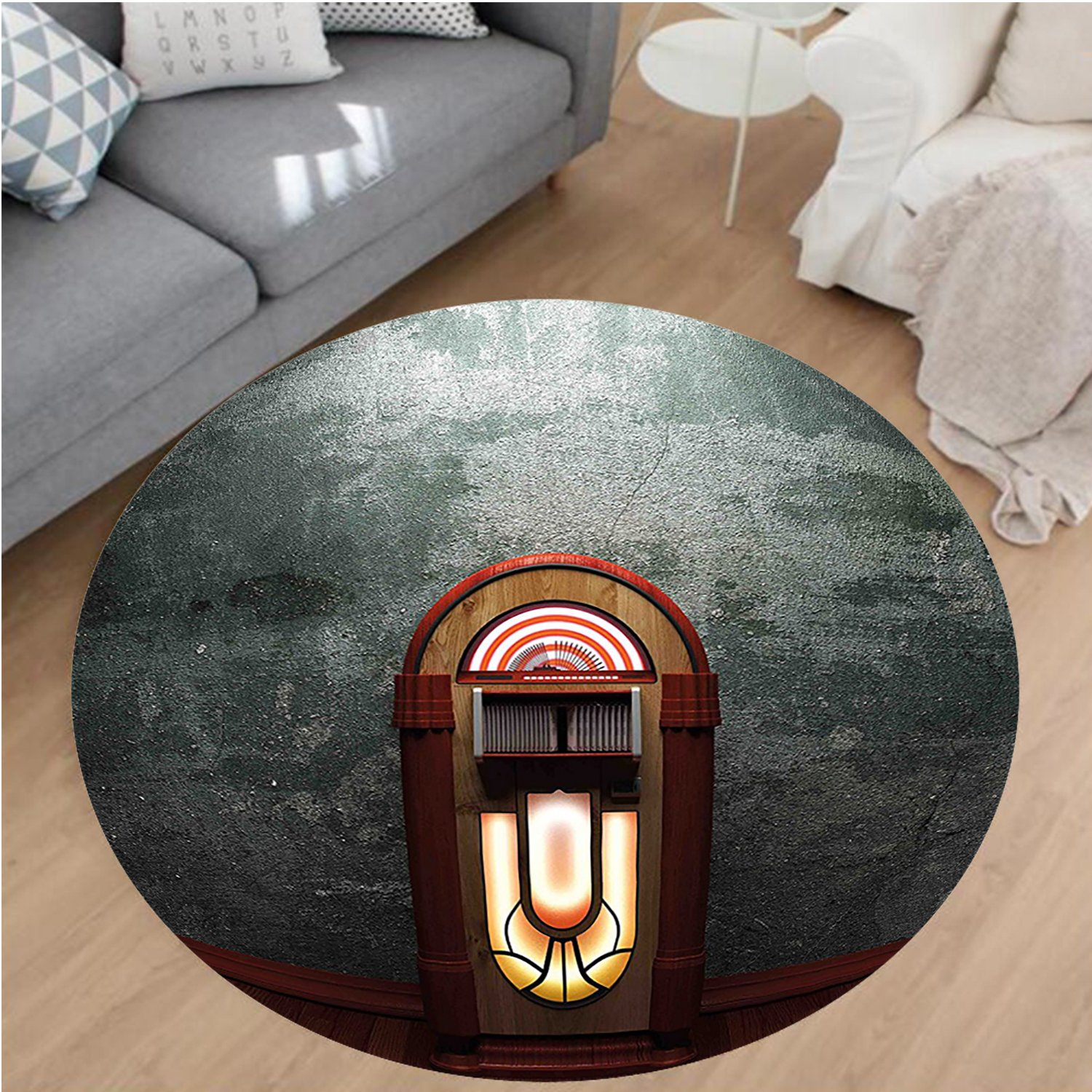 Nalahome Modern Flannel Microfiber Non-Slip Machine Washable Round Area Rug-ry Movie Theme Old Abandoned Home with Antique Old Music Box Image Petrol Green and Brown area rugs Home Decor-Round 67''