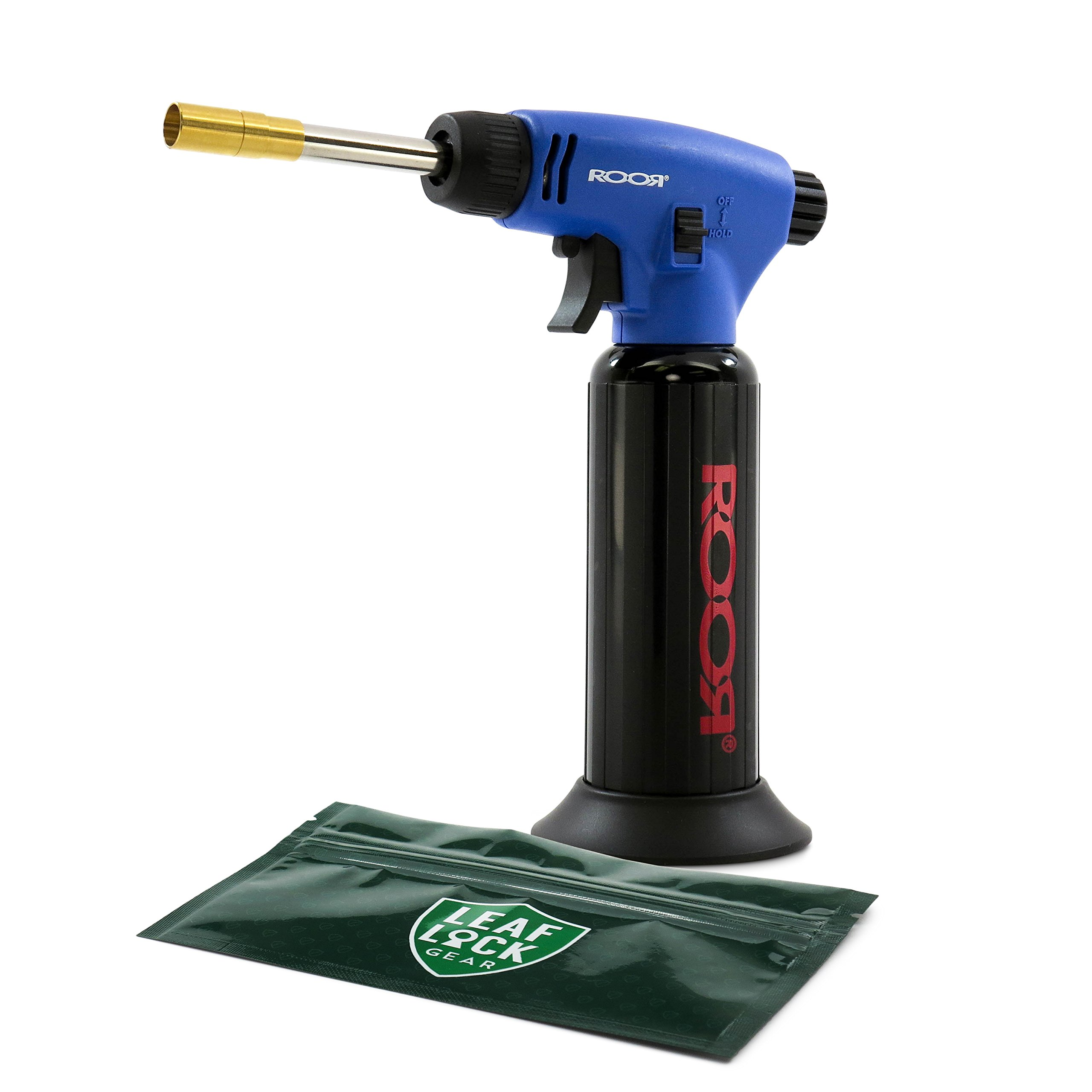 RooR Advanced Flame System Table Top Torch Lighter (Blue) with Leaf Lock Gear Spill Proof Pouch