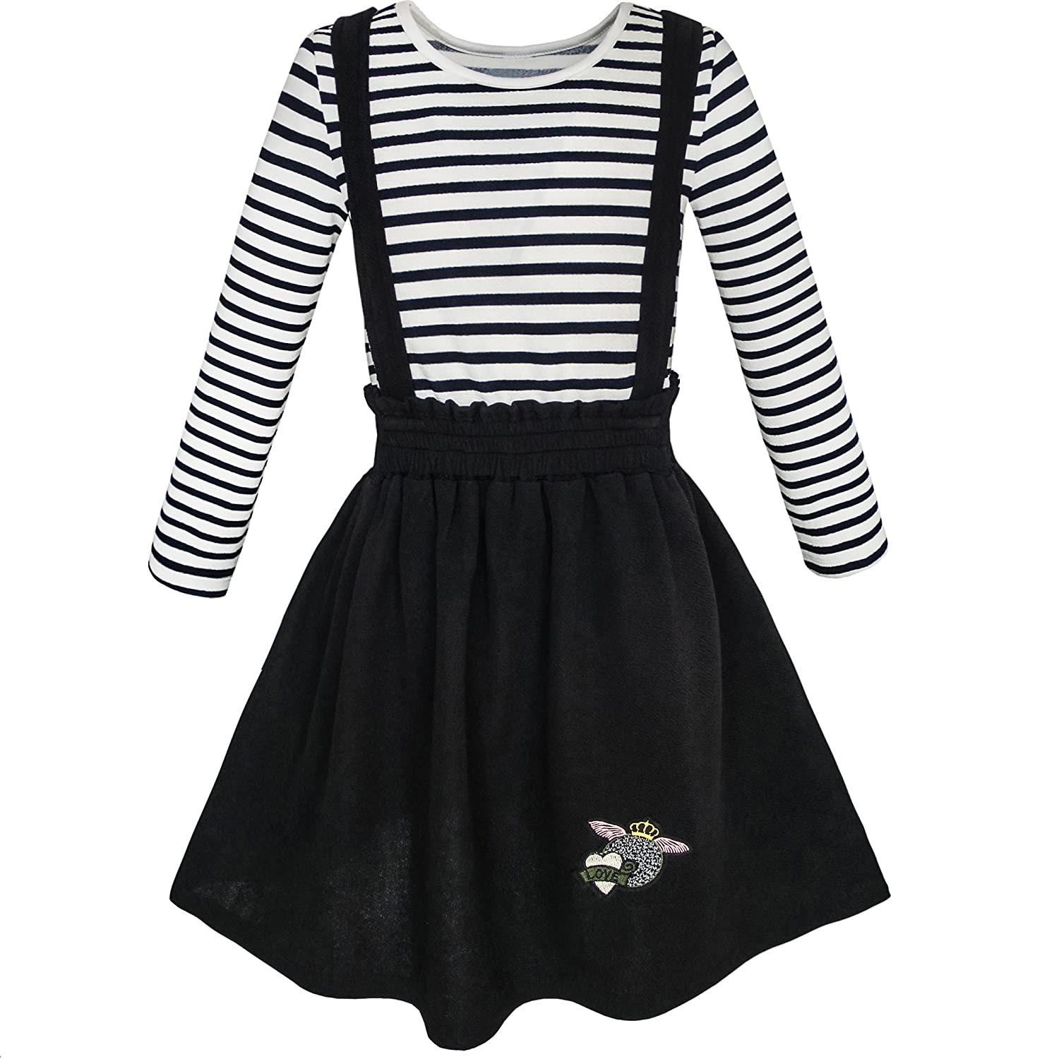 Sunny Fashion 2 Pieces Set Girls Dress T-Shirt Suspender Skirt School Size 4-12