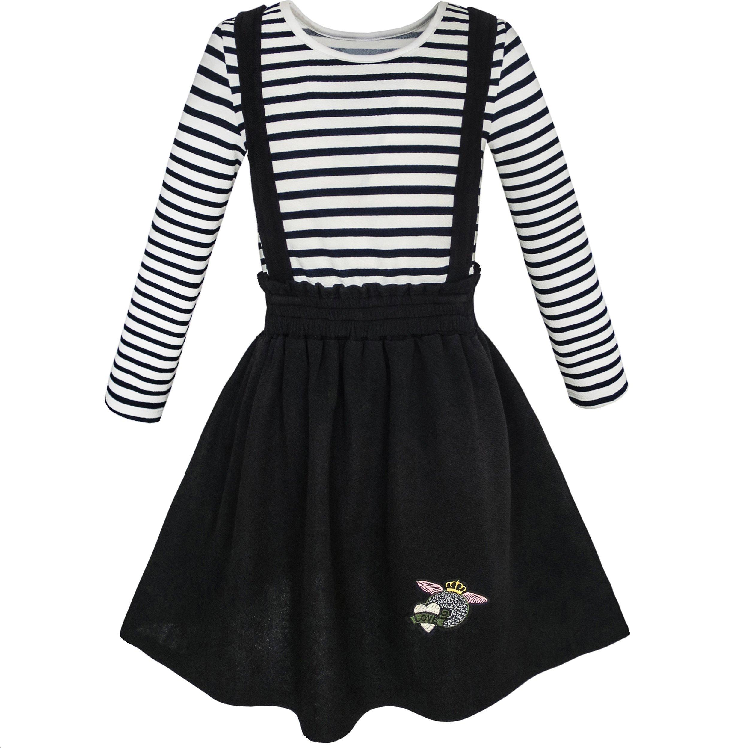 KL73 2 Pieces Set Girls Dress T-shirt Suspender Skirt School Size 6