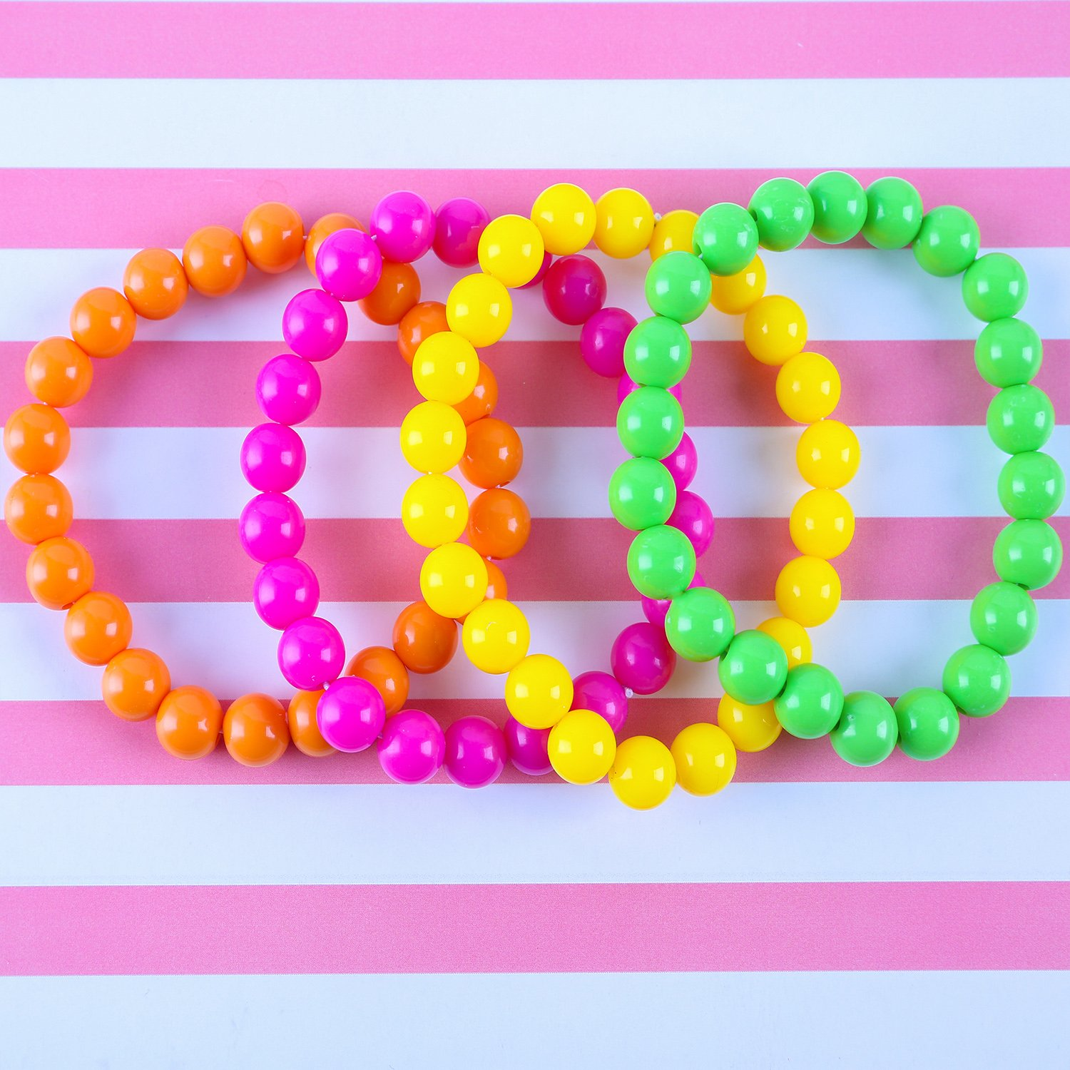 Coobey 80s Neon Bracelet Necklace Bow Headband Fishnet Gloves Lighting Earring by Coobey (Image #5)