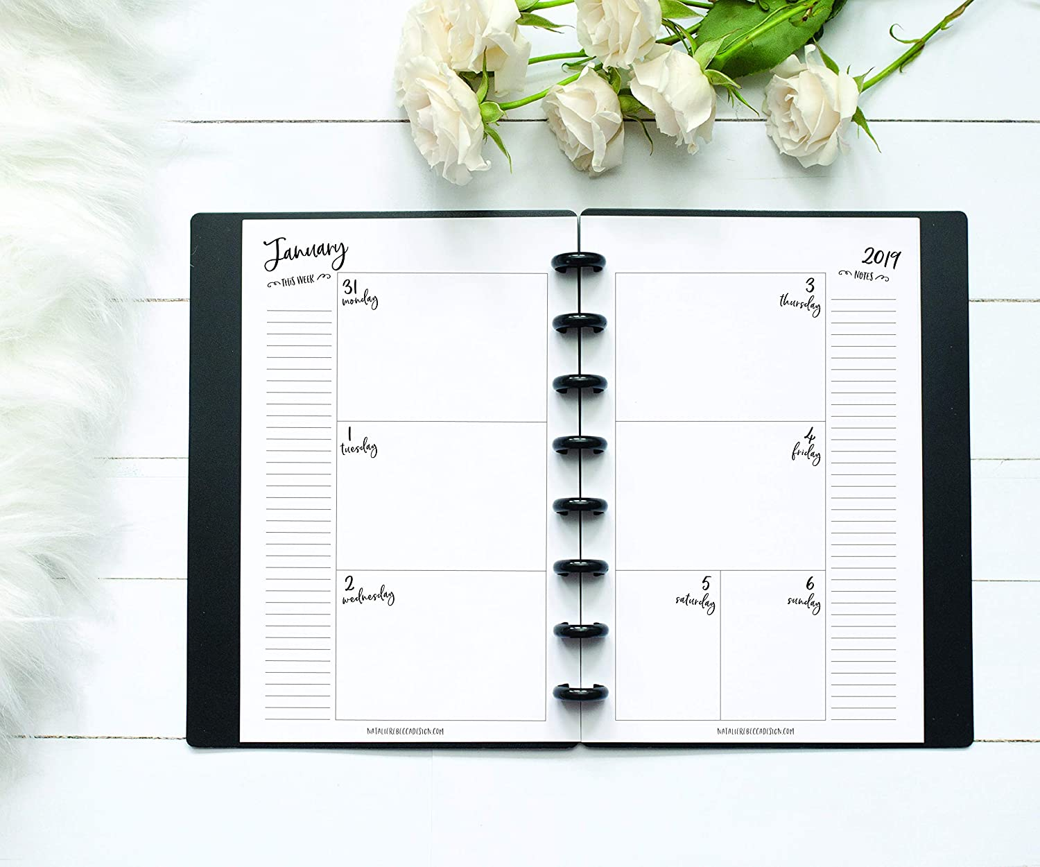2019 Weekly & Monthly Calendar for Disc-Bound Planner, Half Letter Size, Fits 8 Disc Circa Junior, Arc Jr, 5.5