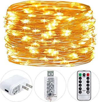 HSicily 33-Ft 100-LED Plug-in Fairy String Lights with Adapter & Remote