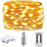 HSicily 49ft 150 LED Fairy Lights Plug in, USB String Lights 8 Modes Firefly Twinkle Lights with Adapter Remote Timer,Warm Wh