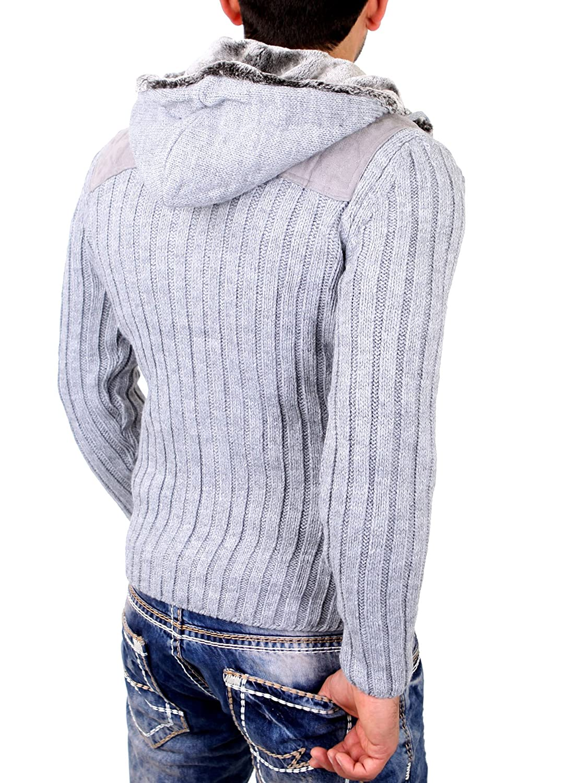 Reslad Herren Strickjacke Grobstrick Winter Fell-Kapuzen Jacke RS-20508 Grau  M: Amazon.de: Bekleidung