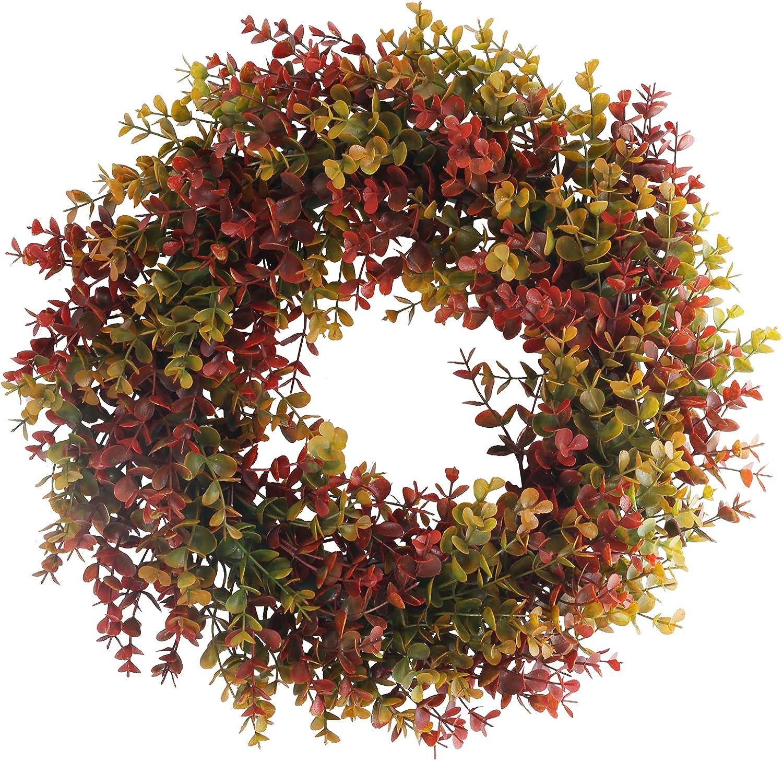 MHMJON Boxwood Wreath Artificial Fall Wreath Autumn Wreath for Front Door Wall Window Harvest Halloween Thanksgiving Day