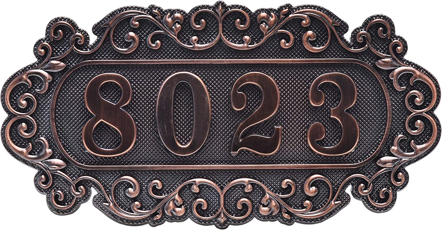 Personalized Door Number Plaque with 10 Numbers, Self Adhesive Room Number Sign for Home, Office, Hotel, Apartment, Students Dormitory (D + 10 Numbers)