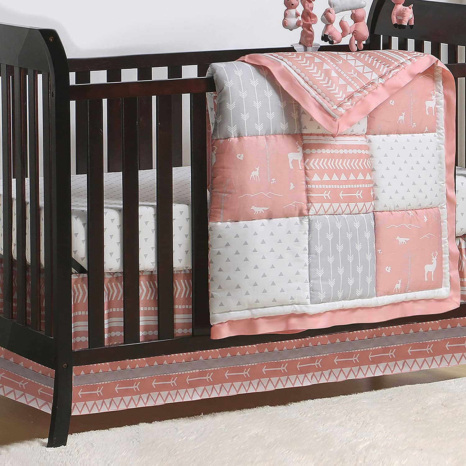 Coral Woodland and Geometric Patchwork 3 Piece Crib Bedding by The Peanut Shell