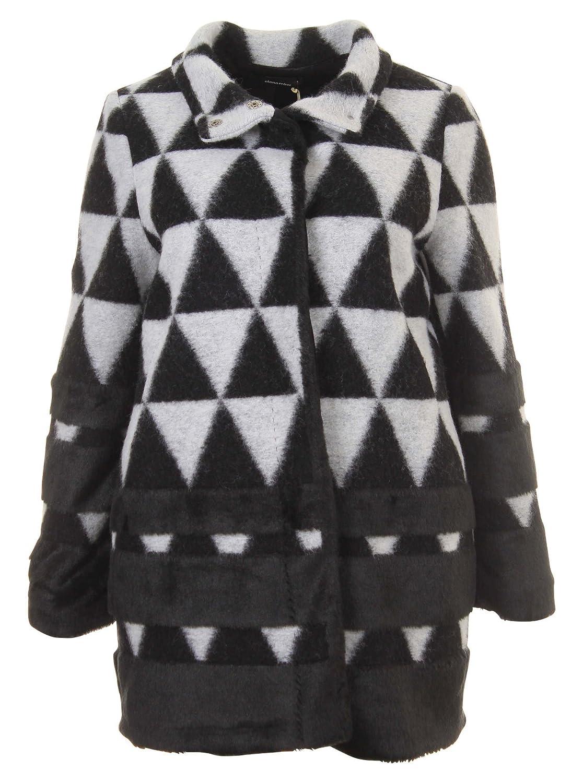 Fellmantel mit Muster in schwarz/grau in Übergrößen (46, 50) von Elena Miro