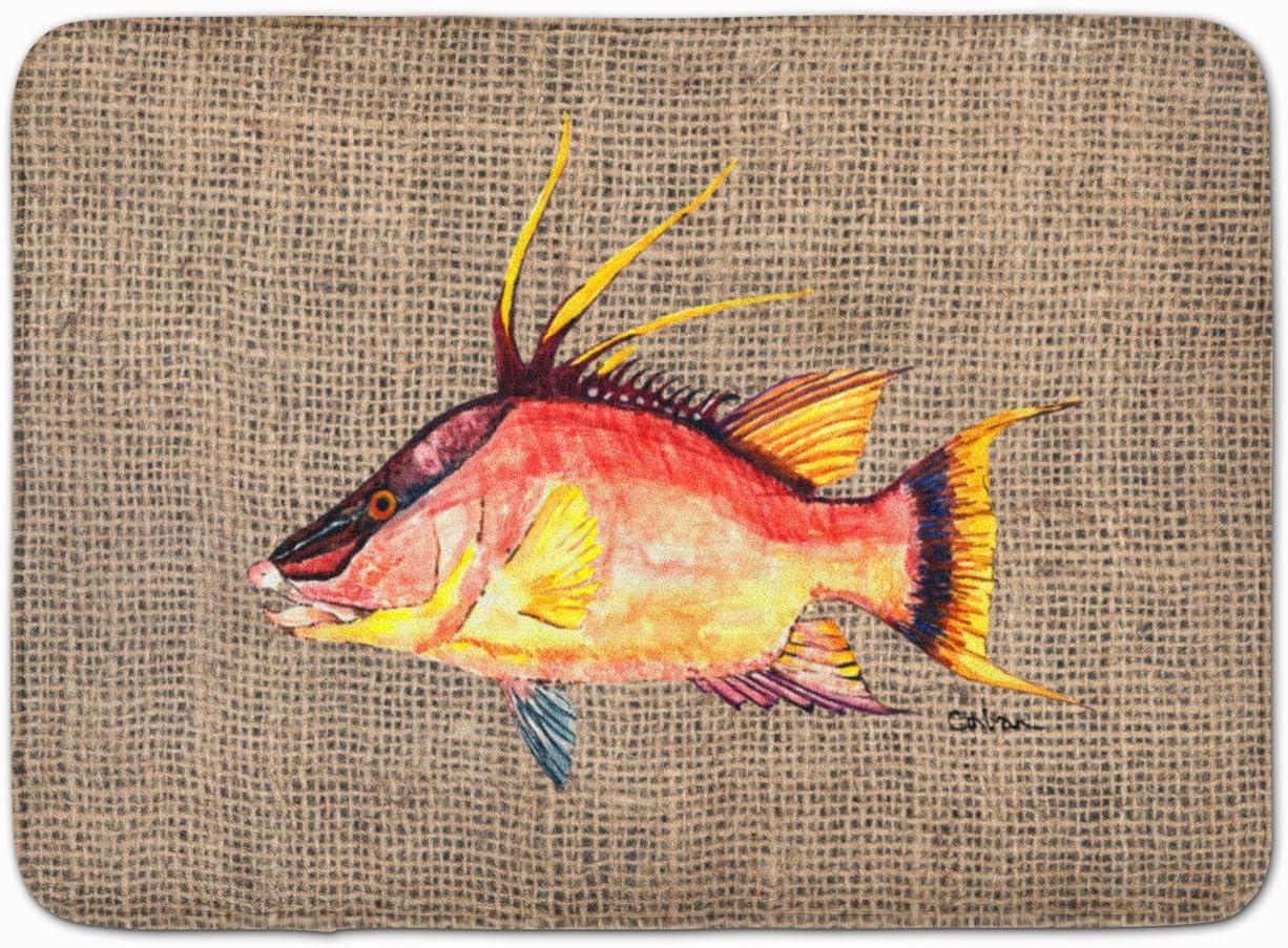 19 x 27 Carolines Treasures Hog Snapper on Faux Burlap Floor Mat Multicolor