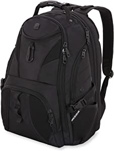 SWISSGEAR 1900 ScanSmart Laptop Backpack | Fits Most 17 Inch Laptops and Tablets | TSA Friendly Backpack | Ideal for Work, Travel, School, College, School, and Commuting- Black/Black