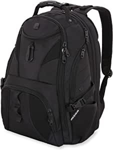 SWISSGEAR 1900 ScanSmart Laptop Backpack | Fits Most 17 Inch Laptops and Tablets | TSA Friendly Backpack | Ideal for Work, Travel, School, College, and Commuting- Black/Black