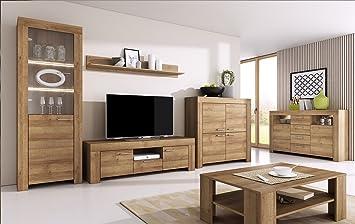 Wohnzimmer Set Wohnwand Anbauwand SKY   Tv Schrank Vitrine Hängeregal  Kommode Couchtisch (Riviera Eiche)
