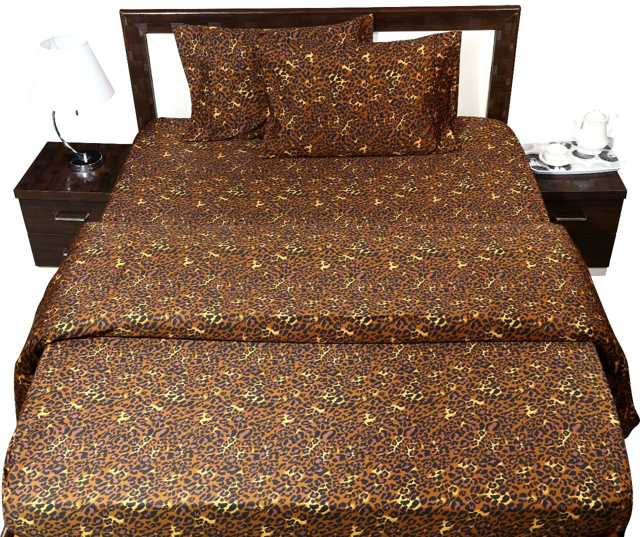 Cotton Sheets - 4-Piece Sheet Set Twin Size 39''X75'' Leopard Animal Print 100% Egyptian Cotton 600 Thread Count (16'' Drop) Bed Sheets