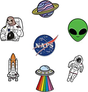 RipDesigns - 7 Space Pins for Backpacks | Enamel Pins for Jackets Cute Pins for Backpacks Planet Pins, Nasa Pin & Astronaut Pins Included (Set 9)