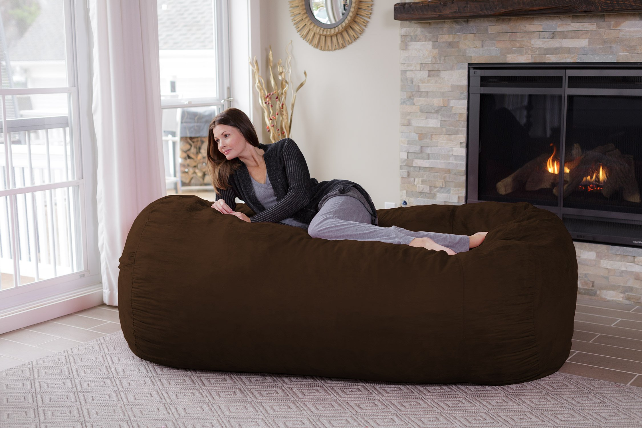 Chill Sack Memory Foam Bean Bag Lounger, 7.5-Feet, Chocolate by Chill Sack (Image #4)