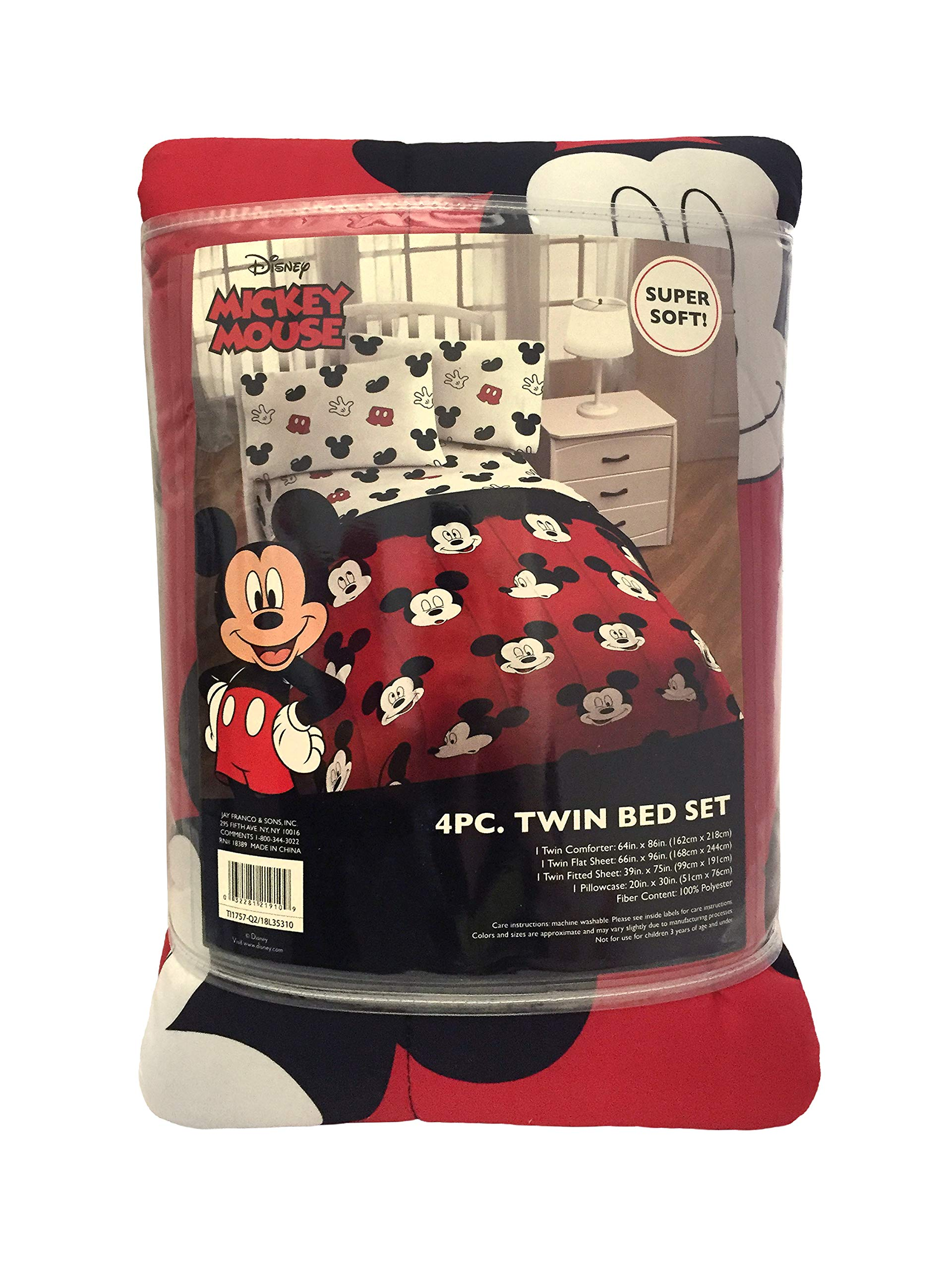 Jay Franco Disney Mickey Mouse Cute Faces 4 Piece Twin Bed Set - Includes Reversible Comforter & Sheet Set - Super Soft Fade Resistant Polyester - (Official Disney Product) by Jay Franco (Image #7)