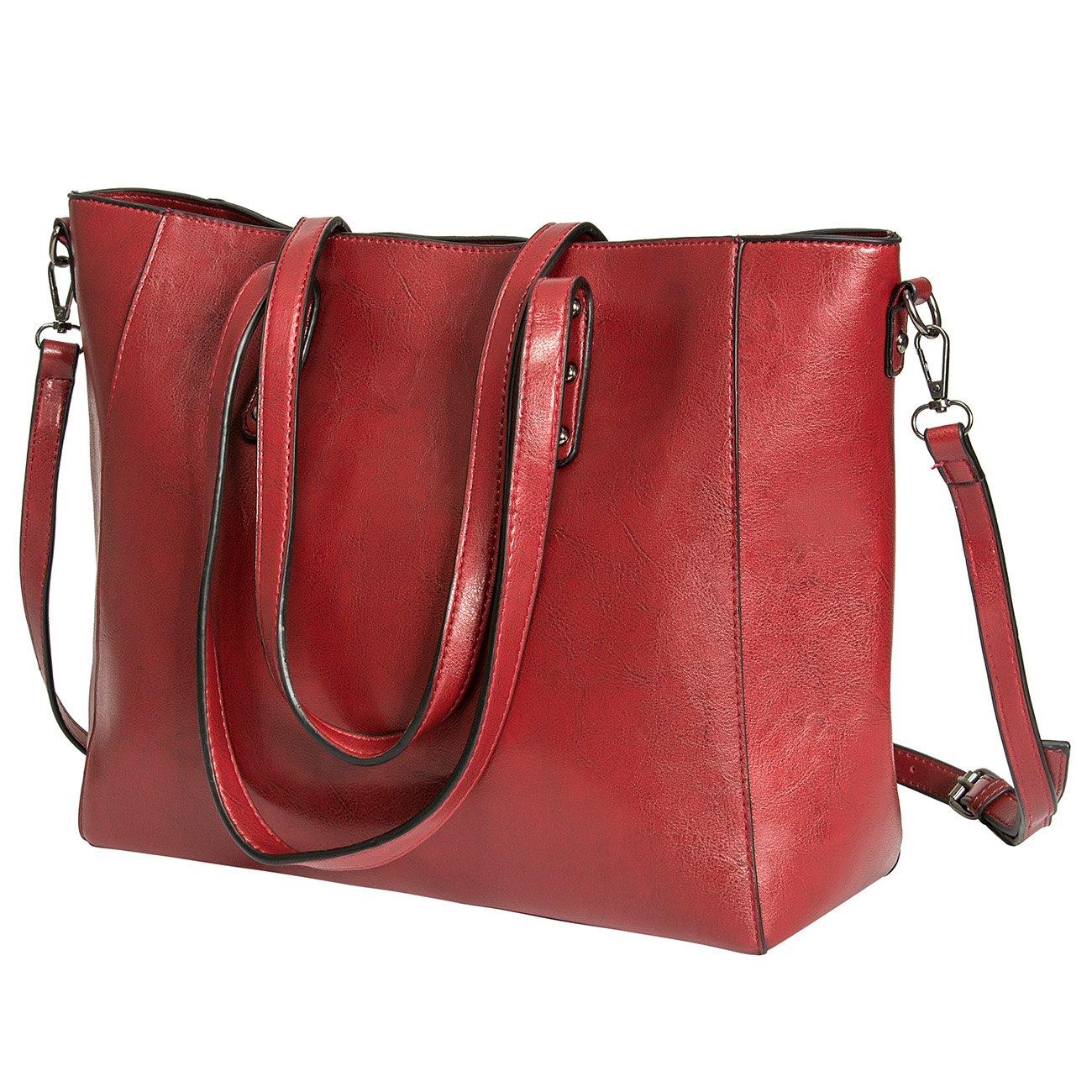 Women Top Handle Satchel Handbags Shoulder Bags Tote Purse (wine red)
