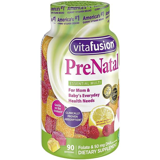 Vitafusion - Limón Natural vitaminas prenatales & sabores de limonada de frambuesa - 90Gomitas: Amazon.es: Salud y cuidado personal