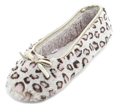 Slumberzzz Ladies Faux Fur Plush Leopard Print Ballet Slipper Beige 3-4 UK