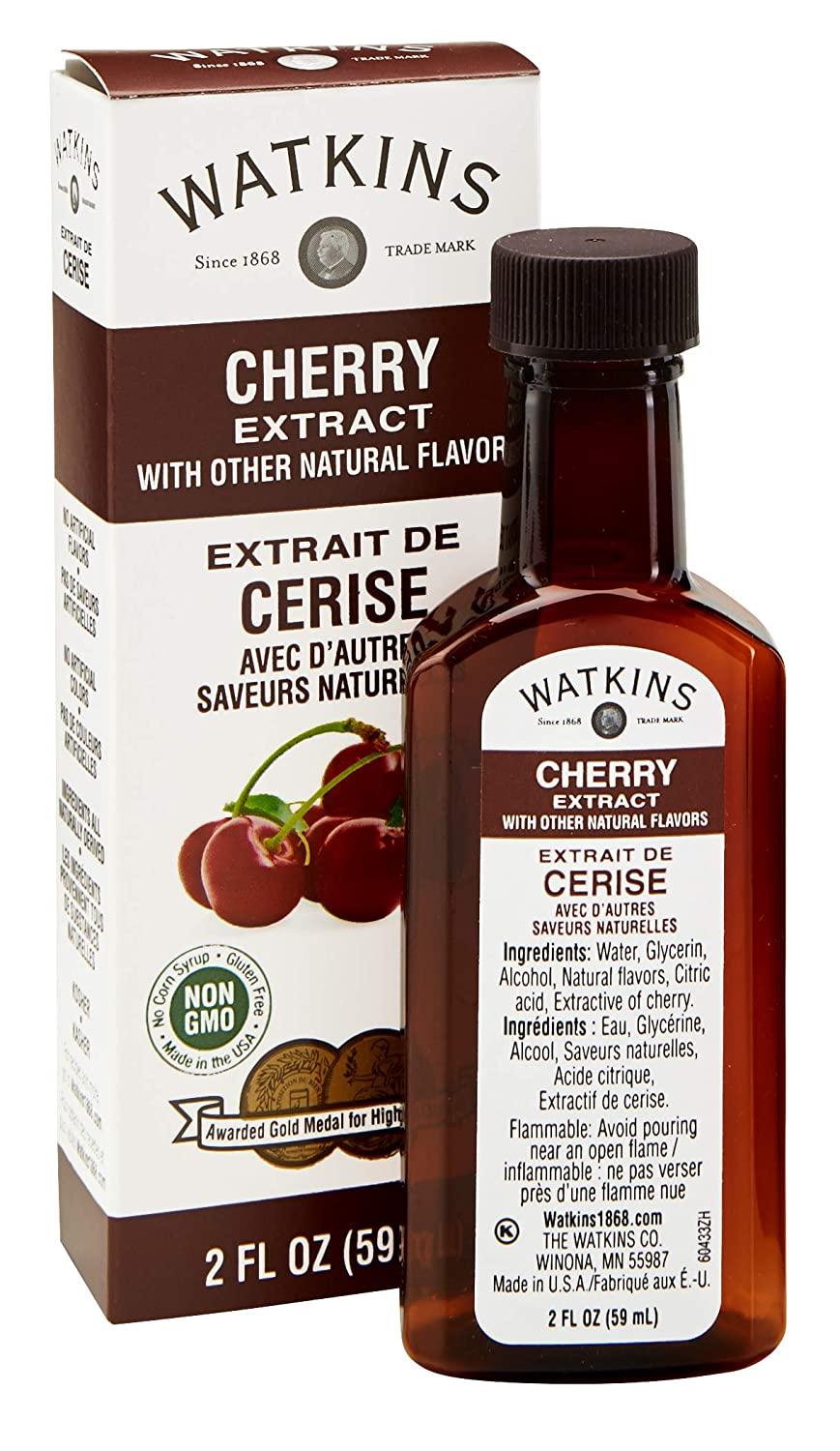 Watkins Cherry Extract with other Natural Flavors, 2 oz. Bottles, Pack of 6 (Packaging May Vary)