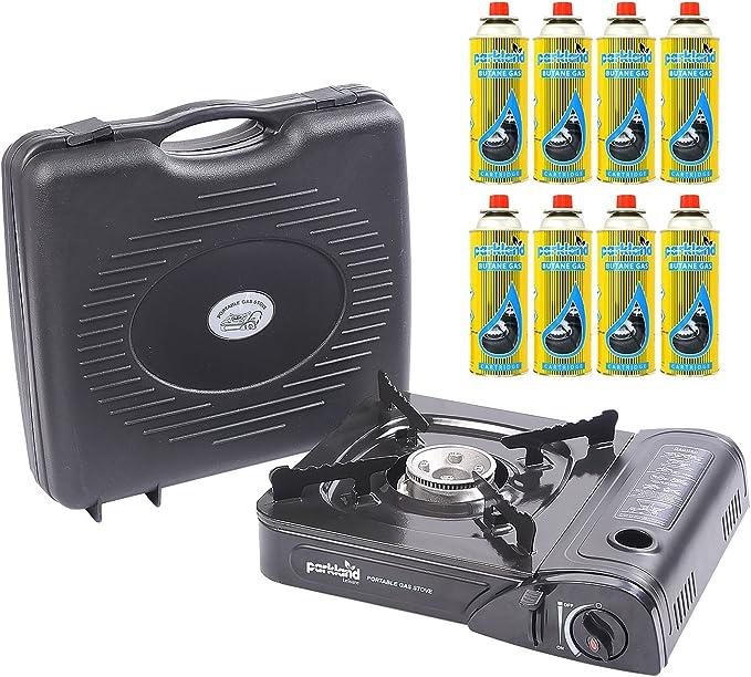 Hornillo portátil Parkland® con 8 recargas de gas
