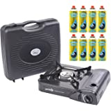 Parkland® Portable Single Burner Hob Camping Gas Stove Cooker + 8 Gas Refills