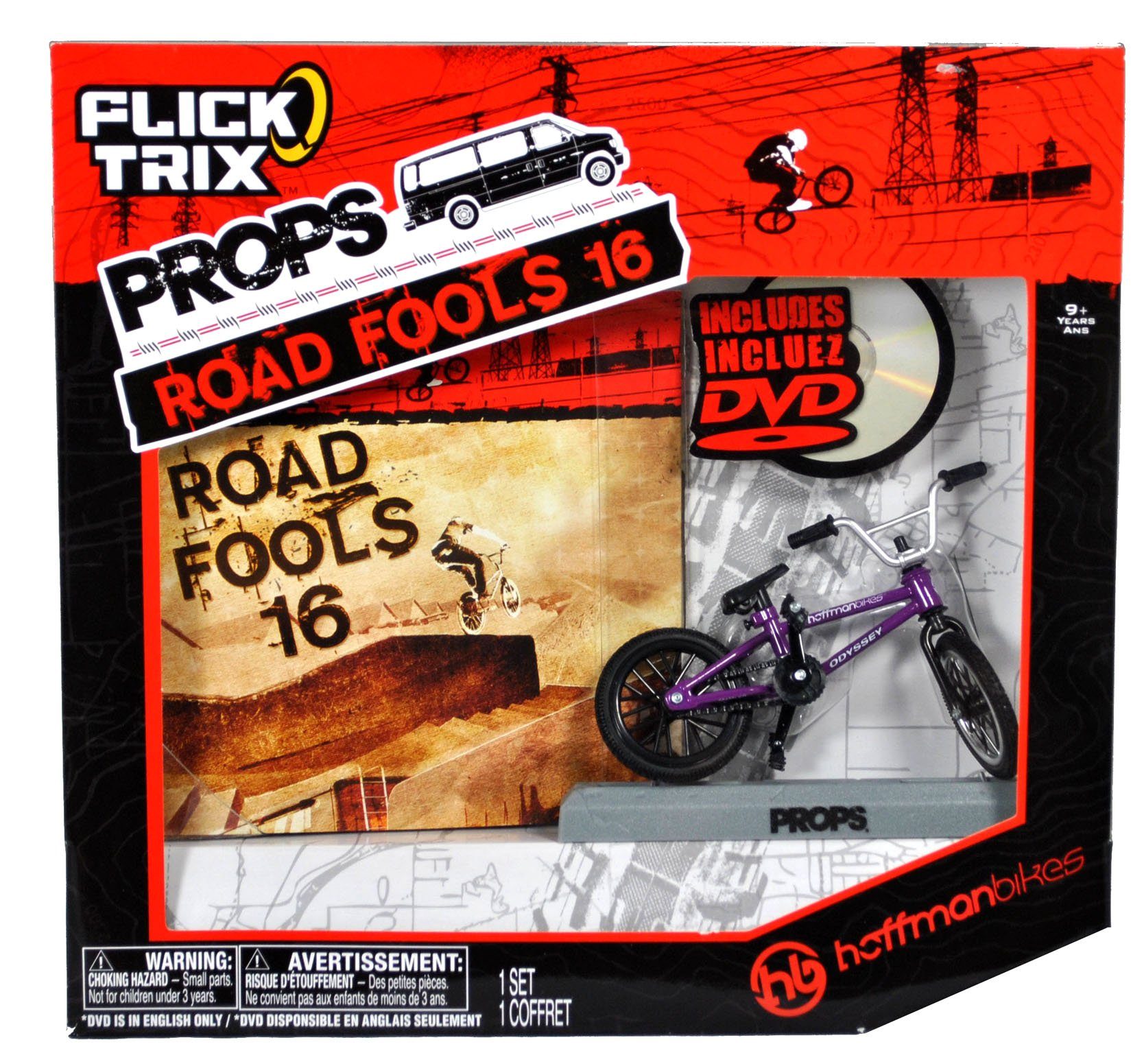 Spinmaster Flick Trix Fingerbike ''Real Bikes, Unreal Tricks'' BMX Bicycle Miniature Set - HOFFMAN BIKES with Display Base and DVD Props ''Road Fools 16'' by Flick Trix (Image #2)