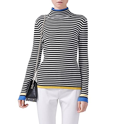 Toyouth Turtleneck Slim Striped Sweater Women Long Sleeve Color