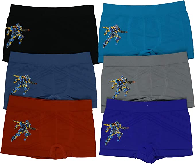 ToBeInStyle Boys 6 Pack Seamless Graphic Decal Boxer Briefs