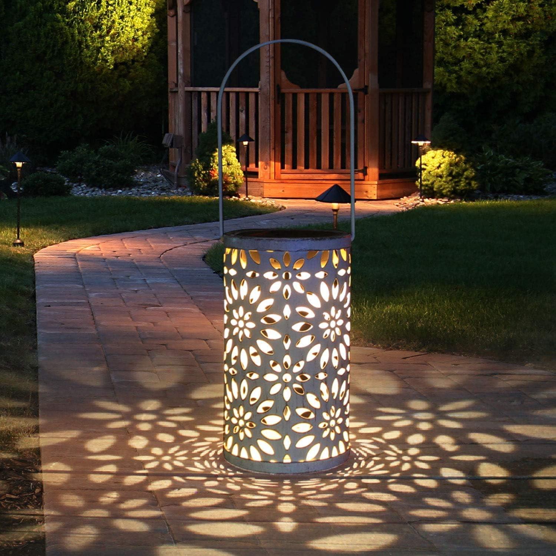 Solar Lantern Outdoor, Tencoz Solar Lantern Waterproof Garden LED Solar Light, Solar Metal Lantern Hanging Lights Moroccan Solar Decorative Lantern for Garden, Patio, Yard and Table