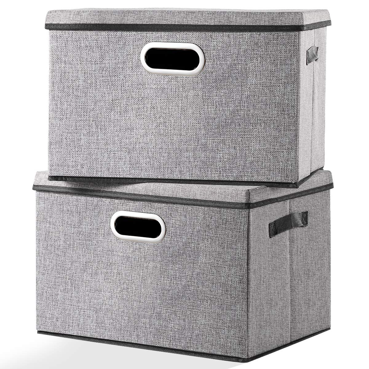 Seckon Large Foldable Storage Bin with Lid [2-Pack] Linen Fabric Decorative Storage Box Organizer Containers Basket Cube with Handles Divider for Bedroom Closet Office Living Room by Seckon