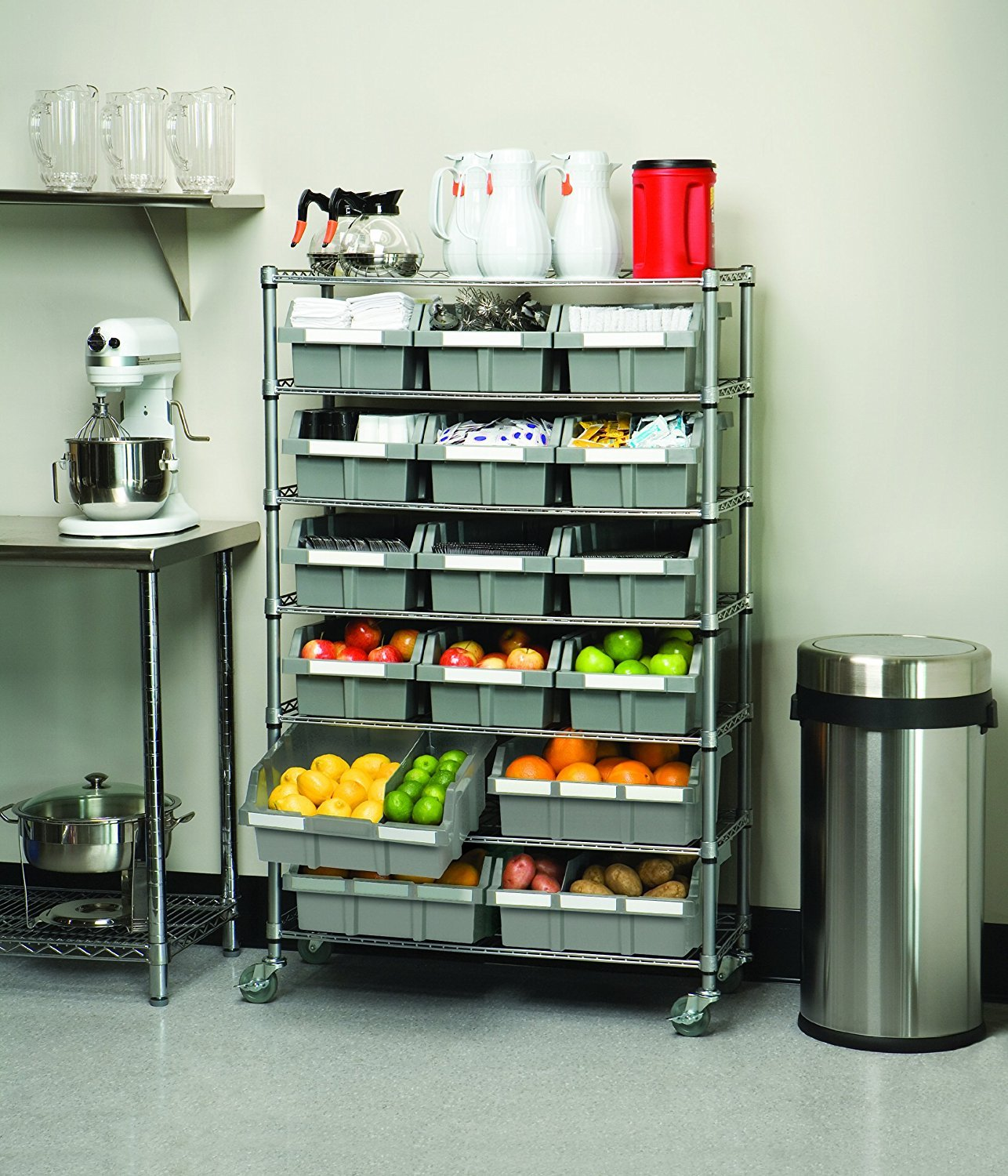 Seville Classics Commercial 7-Tier Platinum/Gray NSF 16-Bin Rack Storage System by Seville Classics (Image #4)