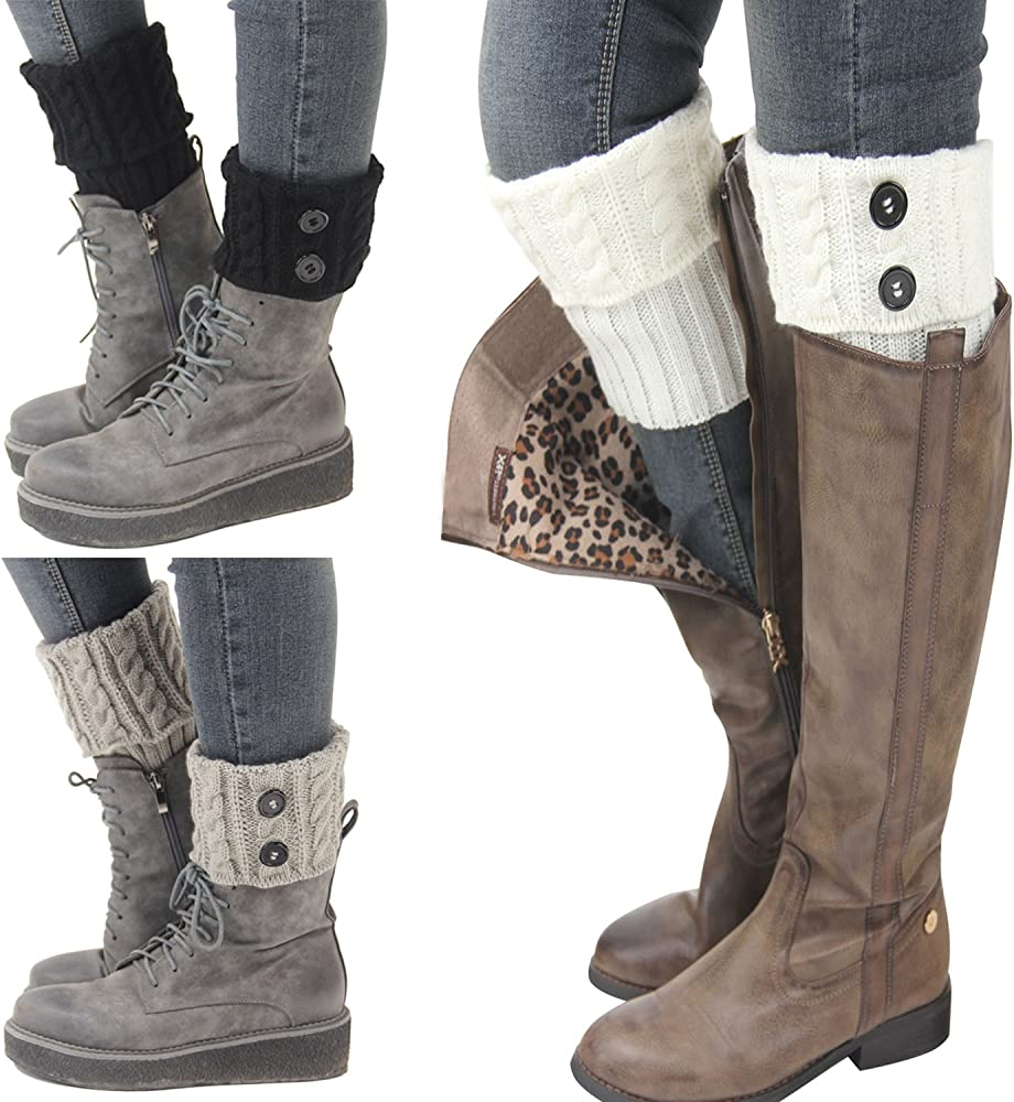Leg Warmers Winter Knitted Boot Cuffs Women/'s Cotton Soft Stretchable Legs Wears