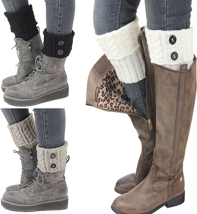 44e6581a5 Bestjybt 3 Pairs Womens Short Boots Socks Crochet Knitted Boot Cuffs Leg  Warmers Socks